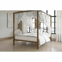 Full Size Dark Gold Metal Canopy Bed Frame Headboard Modern