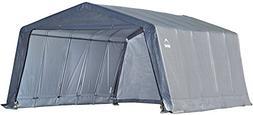 ShelterLogic Peak Style Garage-in-a-Box, Grey, 12 x 16 x 8 f