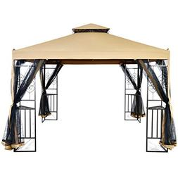 LCH 10 x 10 ft Outdoor Gazebo 2-Tier Soft Top Canopy, Heavy