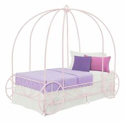 Girls Pink Twin Size Metal Canopy Bed Frame Princess Carriag