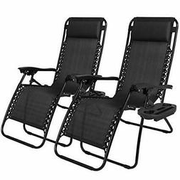 Gravity Chairs Set 2 Black Chaise Lounge Lawn Furniture Pair