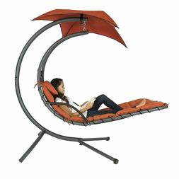 Hanging Curved Chaise Lounge Chair Swing for Patio with Pill