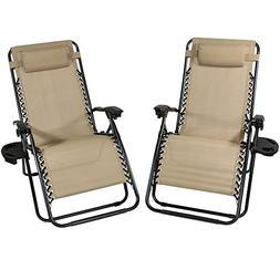 Sunnydaze Outdoor XL Zero Gravity Lounge Chair with Pillow a