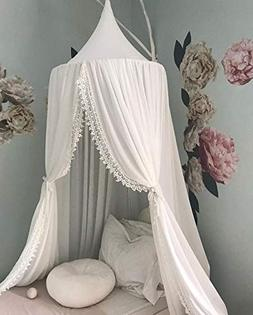 OldPAPA Kids Bed Canopy with Pom Pom Hanging Mosquito Net fo