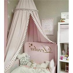 LOAOL Kids Bed Canopy with Pom Pom Hanging Mosquito Net for