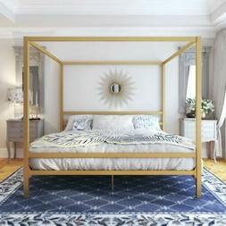 king size dark gold metal canopy bed