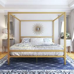 King Size Dark Gold Metal Canopy Bed Frame Headboard Modern