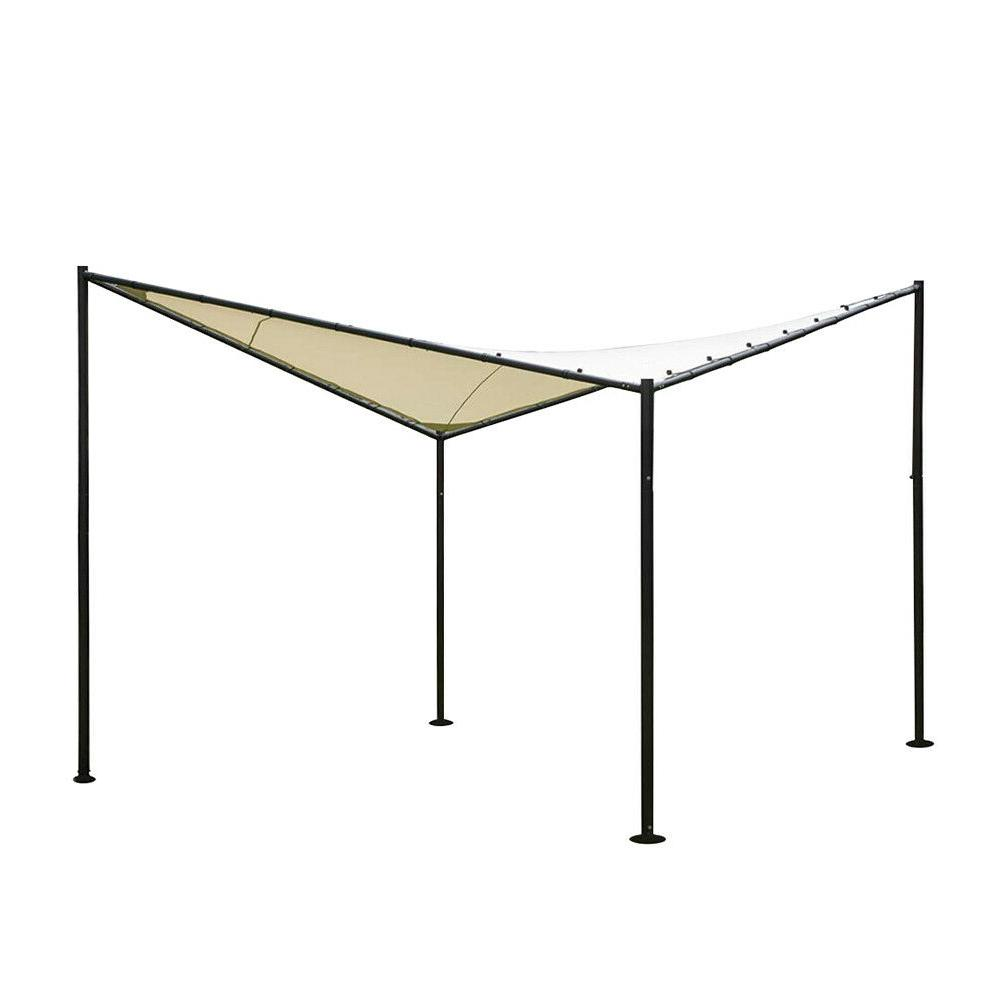 12 12 ft Beige Square Outdoor Gazebo For Backyard