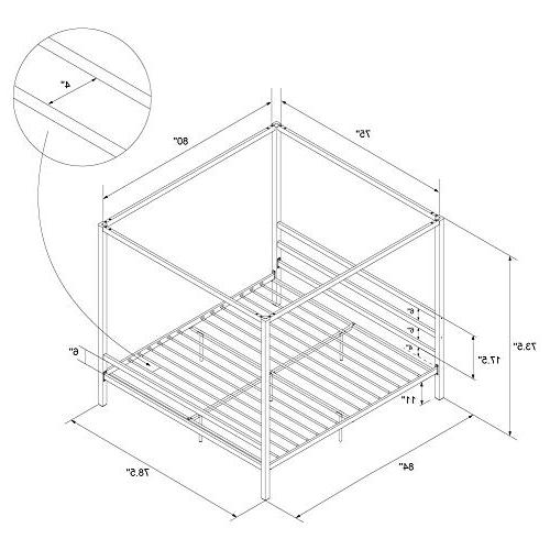 DHP Gunmetal Metal, Loft Bed, Gray