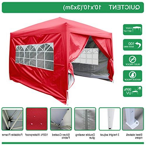 Quictent 10x10 EZ Pop Up Party Tent Canopy Gazebo Red 4 Wall