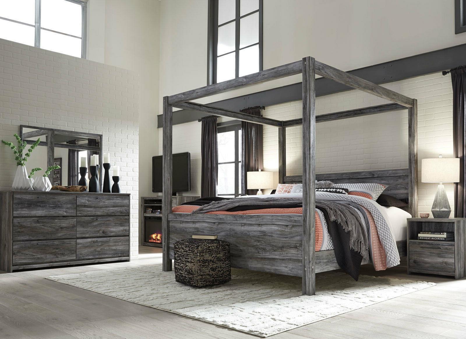 Bedroom Sets Ambrose Modern Smokey Gray 5pcs Bedroom Set Furniture W King Poster Canopy Bed Home Garden Mbln Org