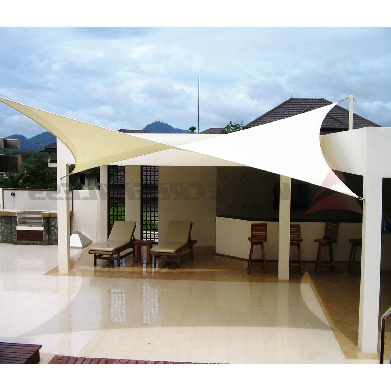 Beige Waterproof Sun Shade Sail Rectangle Awning Top Canopy