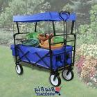 Blue Collapsible Fold Wagon Cart Utility Garden Buggy Toy Be