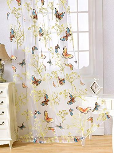 Aside Print Countryside Sheer Voile Window Rod Curtain Drapes for Living