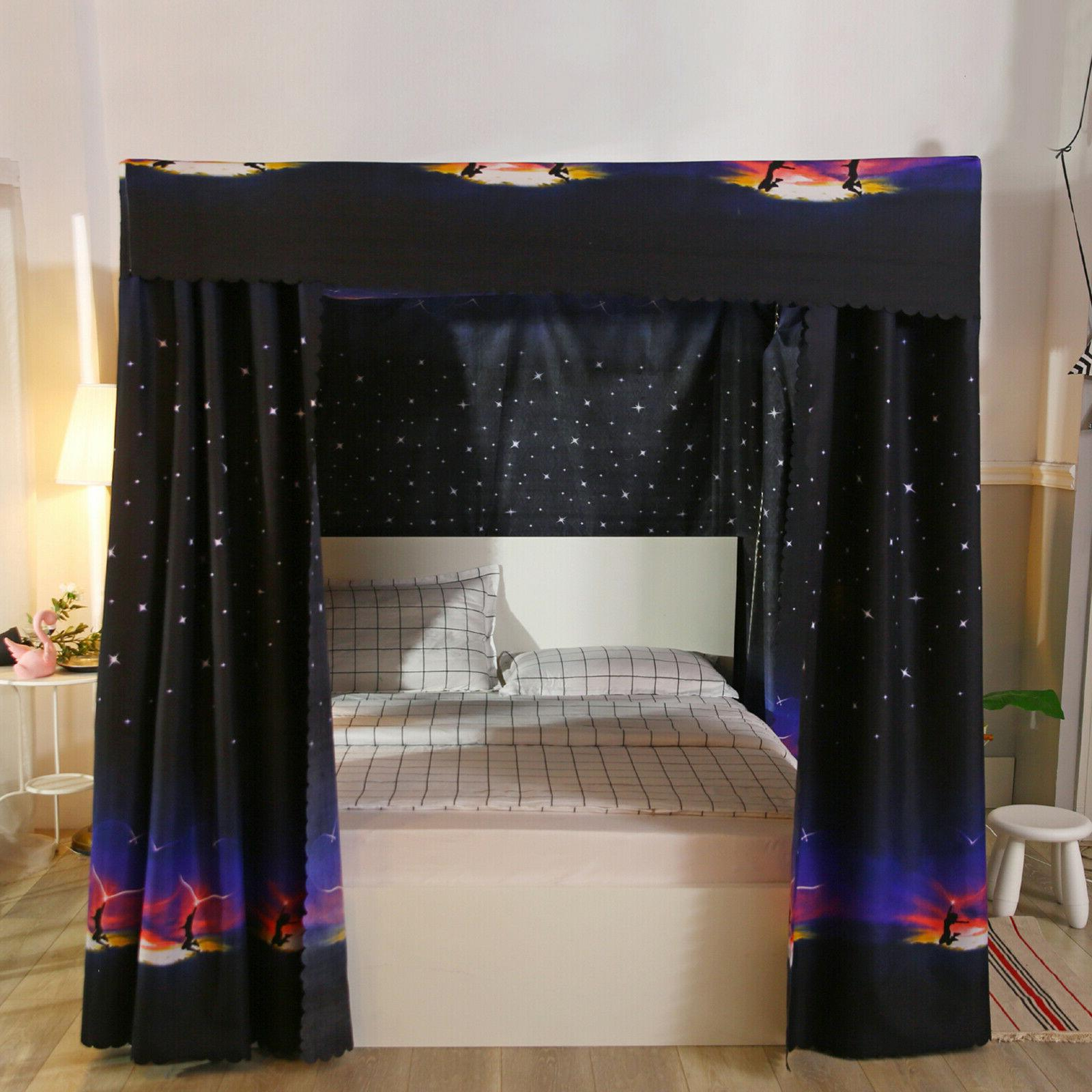 Canopy Bed Curtains Bed Four Post Lightproof for Size