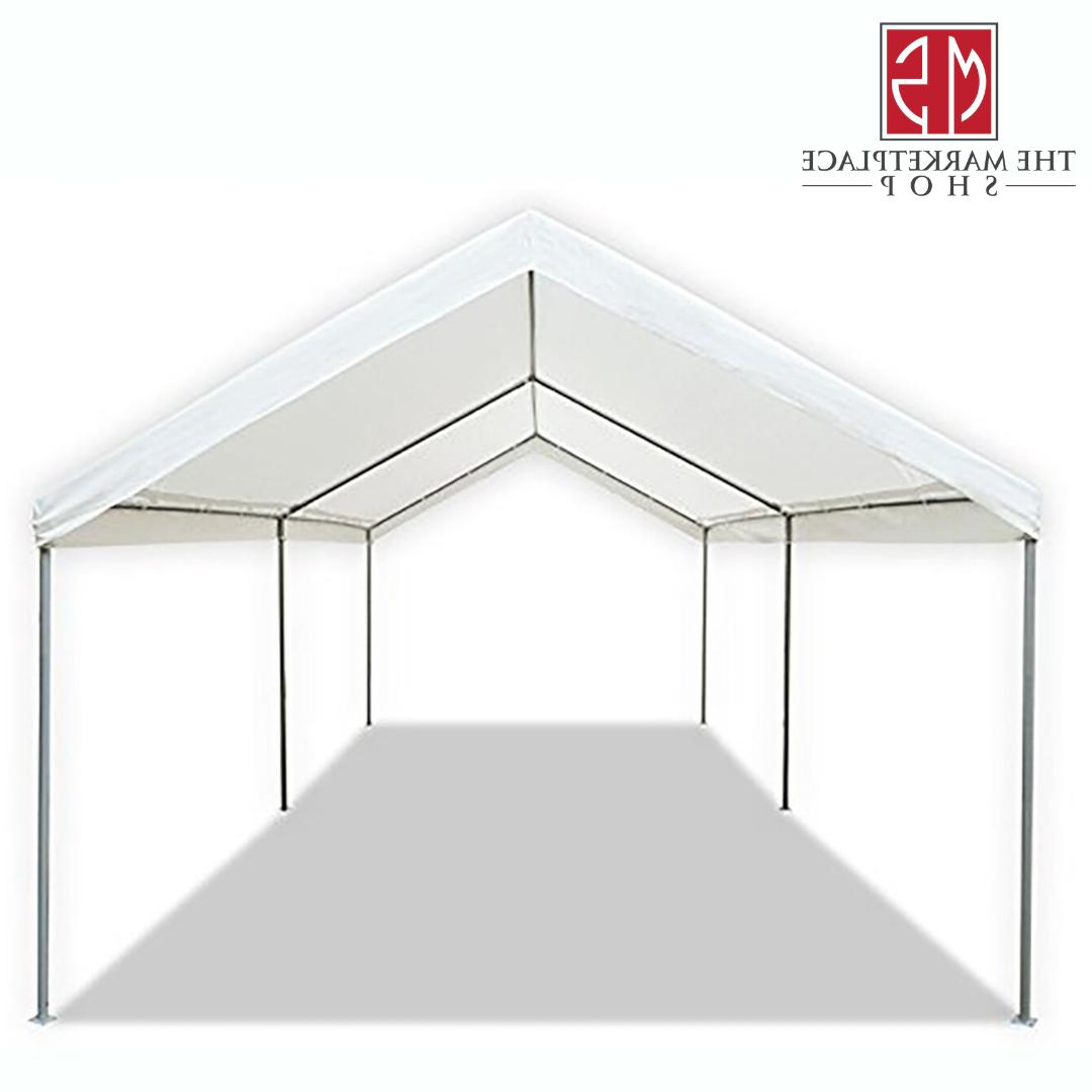 Canopy Carport 20' Heavy Portable Garage Tent Car Shelter Steel