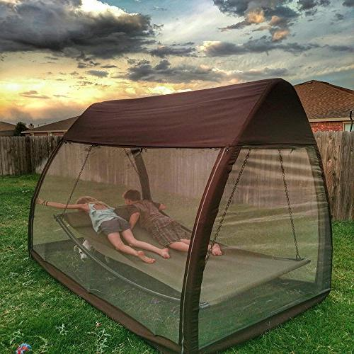 Abba Patio Canopy Cover Hanging Swing with Mosquito Ft, Chocolate