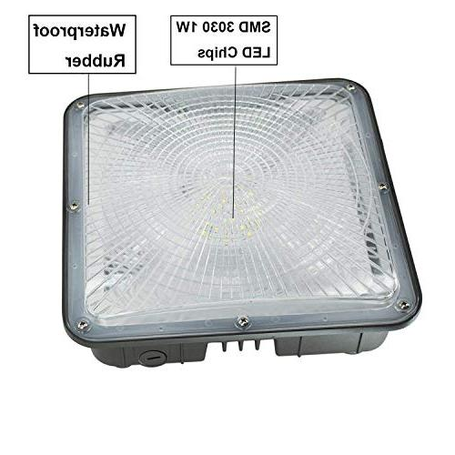 LED Gas Outdoor Waterproof LED Canopy Lighting Fixture,50W Daylight , Warehouse Workshop Ceiling Pack)