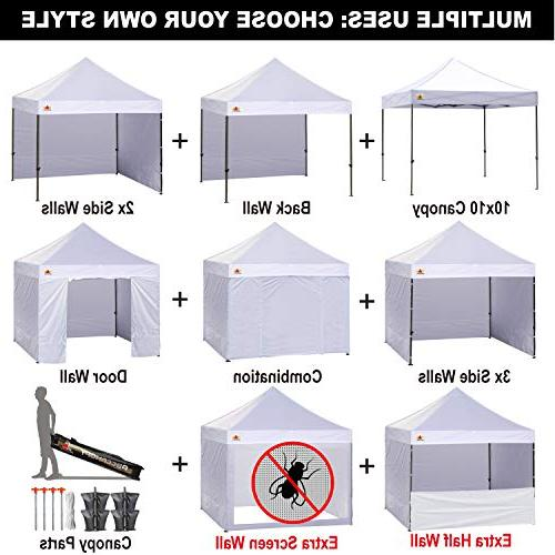 ABCCANOPY Ez Pop-up Commercial Instant stall Removable Sidewalls and Bonus 4 and Screen and Half