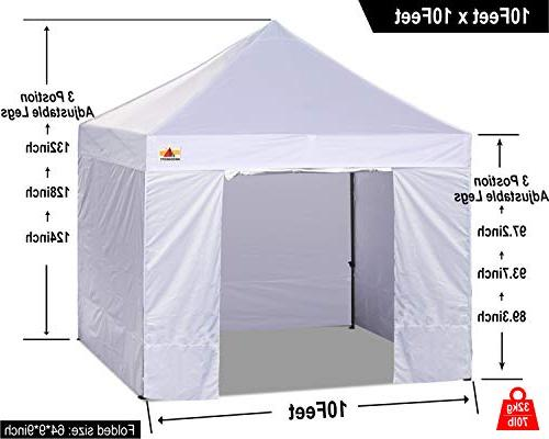 ABCCANOPY Ez Canopy Tent Commercial Market stall with 4 Sidewalls Roller Bag Bonus 4 and and Half