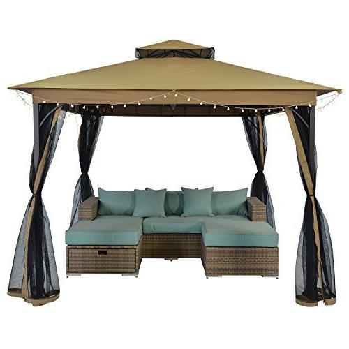 SUNLONO 10 x Ft Outdoor Gazebo 2-Tiered Top Canopy Mosquito Beige