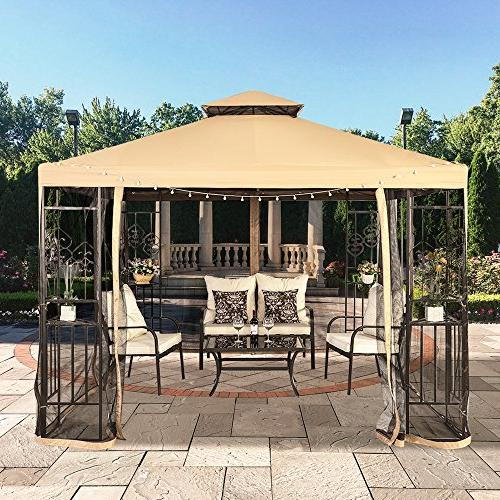 LCH 10 10 ft Soft Top Canopy, Duty Steel Shelter Mosquito Netting,