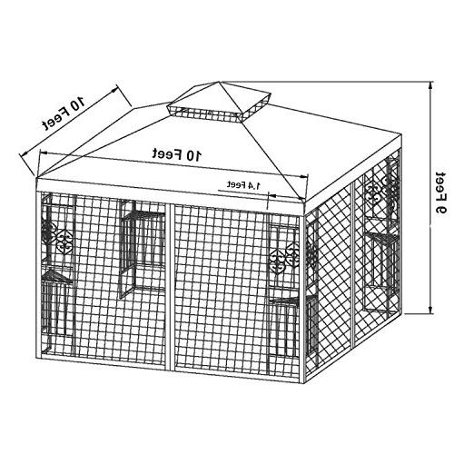 LCH 10 ft 2-Tier Soft Duty Steel Frame Sun Shelter Mosquito Netting,