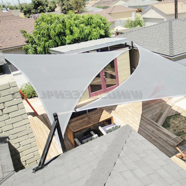 Gray Triangle Sun Shade Sail Fabric Outdoor Yard Canopy Pati