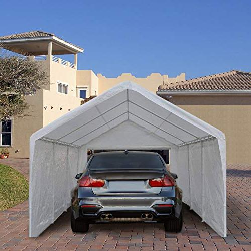 Abba 12 x 20-Feet Heavy Duty Car Shelter with Removable and 8 Legs, White