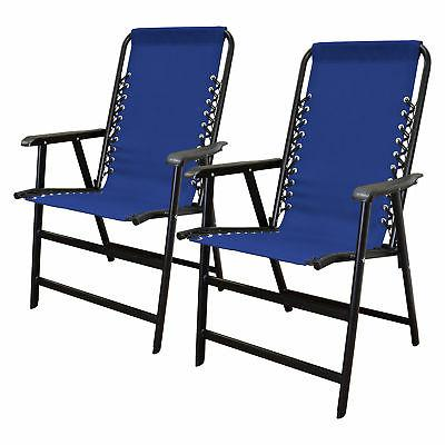 infinity suspension steel frame folding chair blue