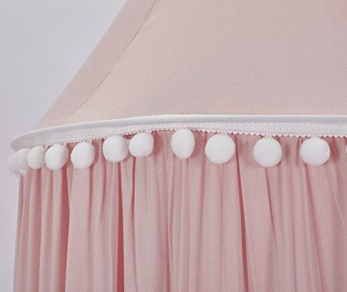 LOAOL Kids Bed with Pom Pom Hanging Mosquito Net for Crib Nook Tent Nursery Room Decor
