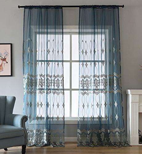 Aside Bside Wave Rod Pockets Symmetric Pattern Sheer Curtains