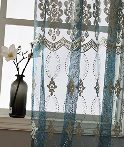 Aside Luxurious Wave Embroidered Pockets Symmetric Artistic Curtains