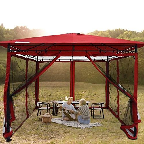 Quictent Mosquito Metal Screened Pergola Soft Gazebo Canopy Fully Enclosed for Patio, Backyard