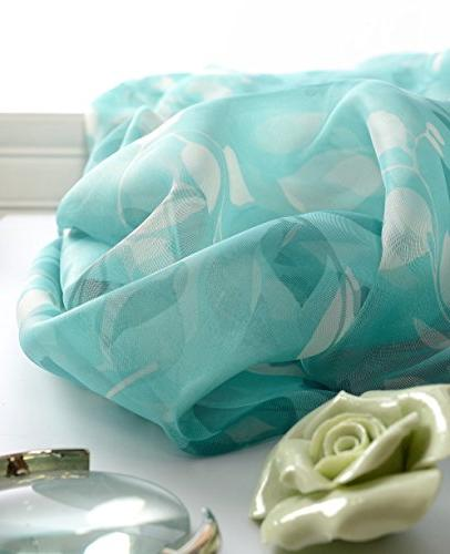 Aside Modern Floral Top Curtains Voile Draperies Elegant Treatment for Kitchen and Children Room