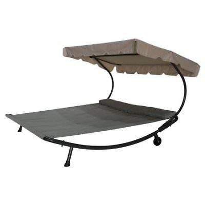Abba Patio Outdoor Portable Double Chaise Bed with Sun a W