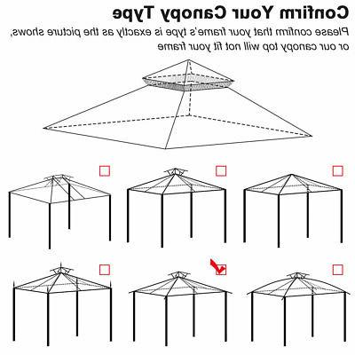 12'x12' Patio Canopy Replacement Cover Gazebo Sunshade