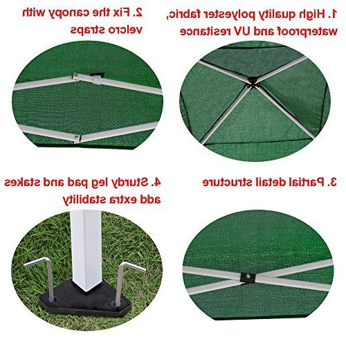 Green Pop up Canopy - x 10 Proof Party Outdoor Leg Canopy