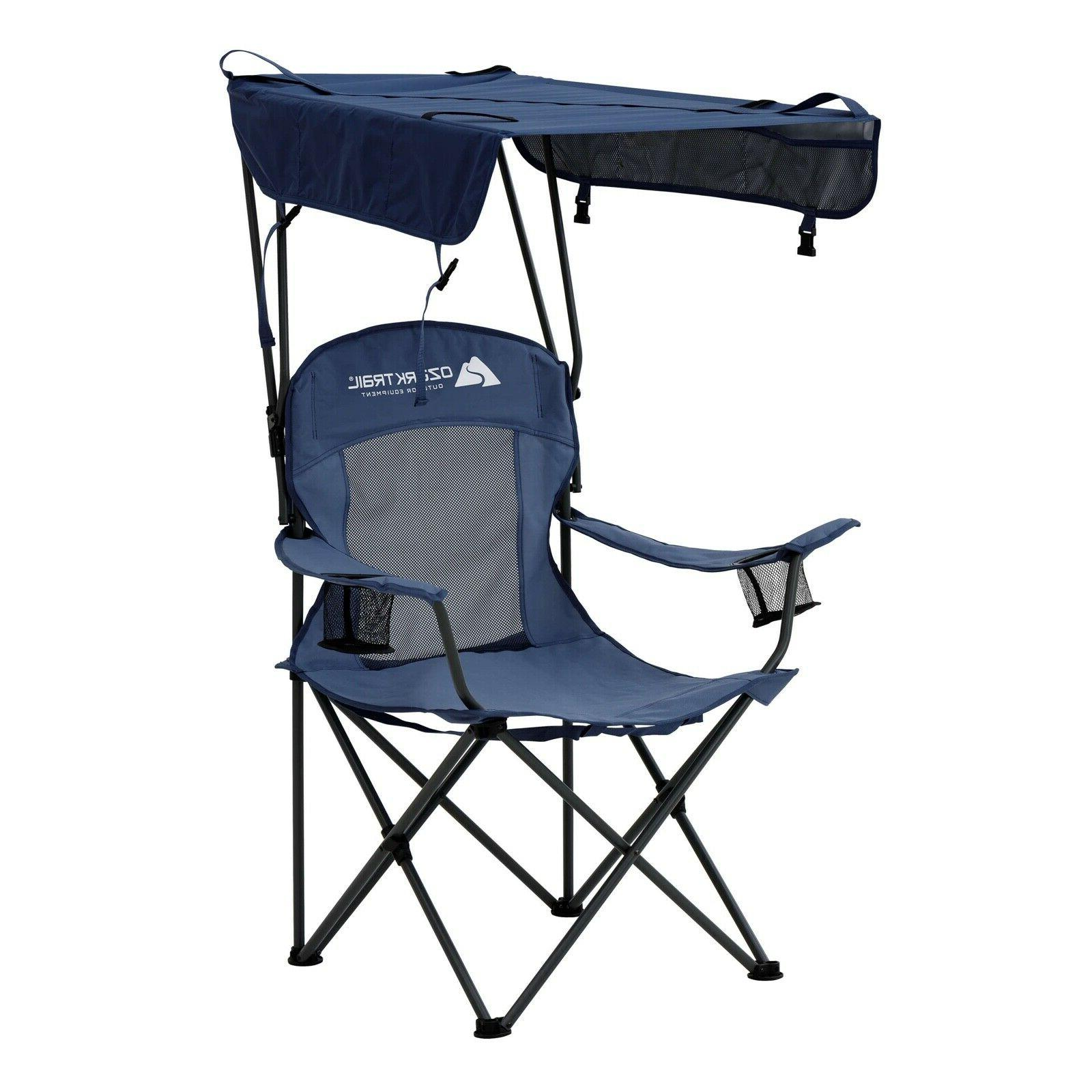 potable folding canopy camping chair with cup