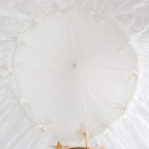 Dix-Rainbow Girls Canopy, Lace Round Dome, Fairy for Play Nook for Babies & Toddlers 270cm/107in