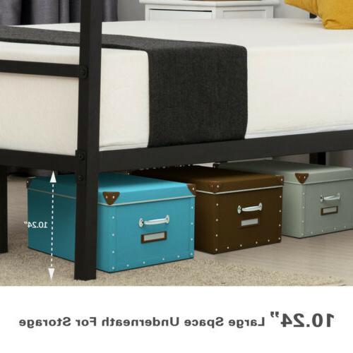 Twin Size Canopy Bed Frame Platform Footboard Bedroom Furniture