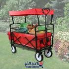 Red Collapsible Folding Wagon Cart Utility Garden Buggy Toy