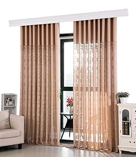 Aside Semi Sheer Style Jacquard Window Curtain Drapes