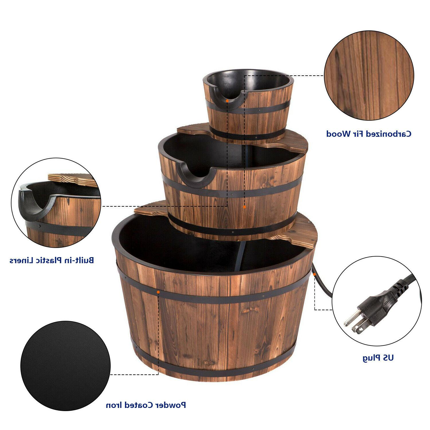 Rustic Wood Barrel Water Fountain, Outdoor and