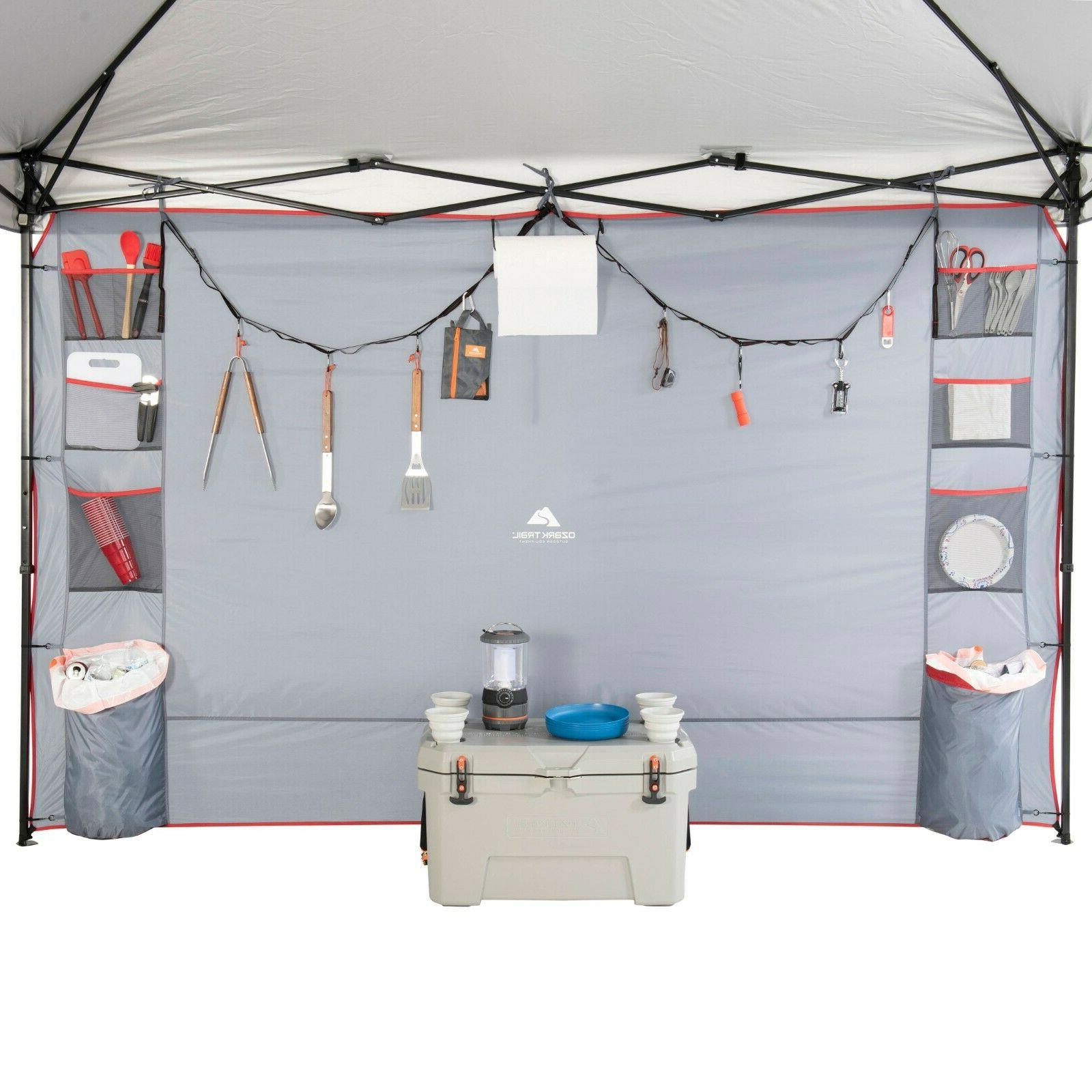 shade wall with organizer pockets for straight