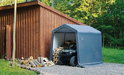 ShelterLogic Shed-in-a-Box All Steel Storage with Cover Reusable Auger