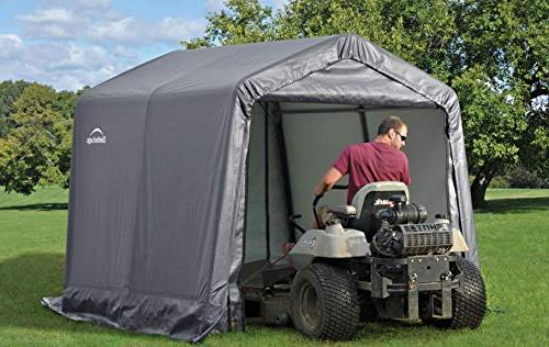 ShelterLogic 8' Shed-in-a-Box Season Metal Storage Shed with Cover and Reusable