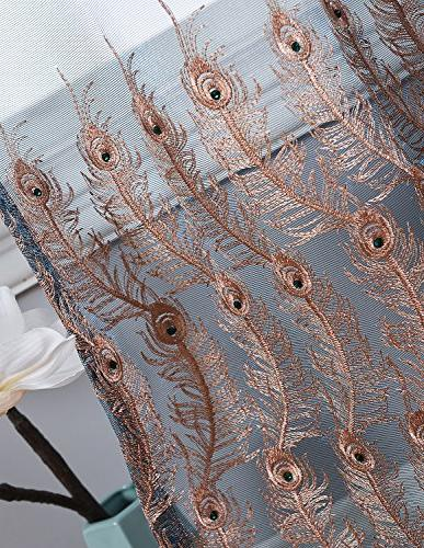 Aside Sheer Curtains Feather Print Pocket Top Voile Treatments Dining