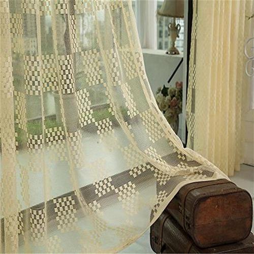 Aside Bside Pattern Sheer Lace Panels Rod Pocket for Living