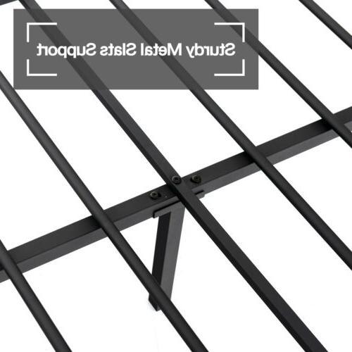 Twin Metal Canopy Bed Frame Platform Footboard Furniture